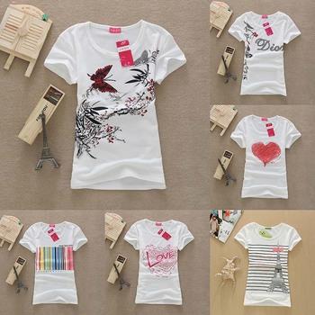 [SEKKES] 2015 Cotton T Shirt Women Tops Round Neck Butterfly Print  Women T-shirt