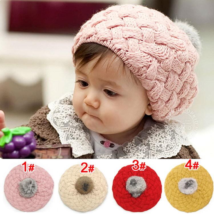 Hot Selling Kids Girls Baby Handmade Hat Crochet Knitting Beret Hats Caps Cute Winter Beanie Rabbit Fur Ball Warm Wool Beanie(China (Mainland))