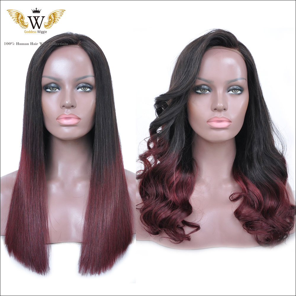 200 Density Ombre Human Hair Lace Front Wigs With Baby Hair Ombre Burgundy Brazilian Full Lace Virgin Wigs For Black Women <br><br>Aliexpress
