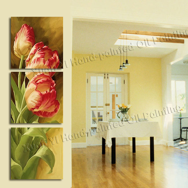 3 Panel Modern Printed Tulip Flower Painting Picture