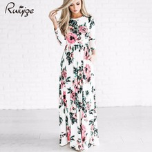 Buy 2017 Sexy Women Floral Print 3/4 Sleeve Boho Dress Ladies Party Long Maxi Dress Pocket Ice Silk Summer Beach Party 5 Colors for $11.12 in AliExpress store