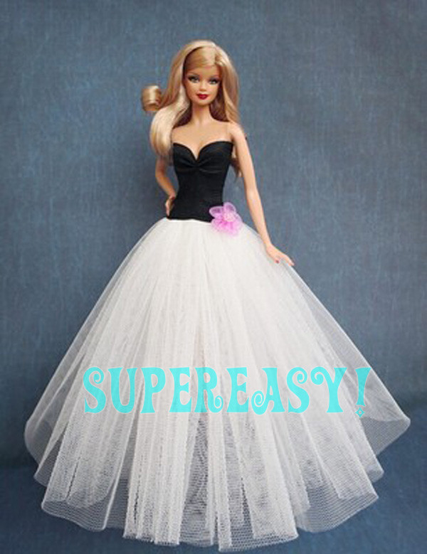 Concise Type The Night Costume Strapless Lace Ball Robe Princess Costume Garments For Barbie Doll Stunning xMas Present