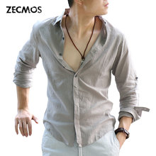 Zecmos Cotton Linen Shirts Man Summer White Shirt Social Gentleman Shirts Men Ultra Thin Casual-shirt British Fashion Clothes