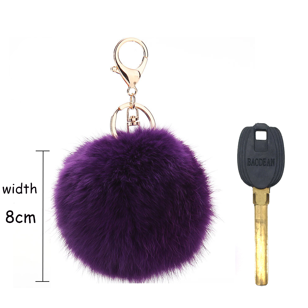 8CM Round Home Rabbit Fur Key Chain Lady's DIY Fluffy Ball Keychain Women's Gold color Key Chain For Car For Bag Pendant(China (Mainland))