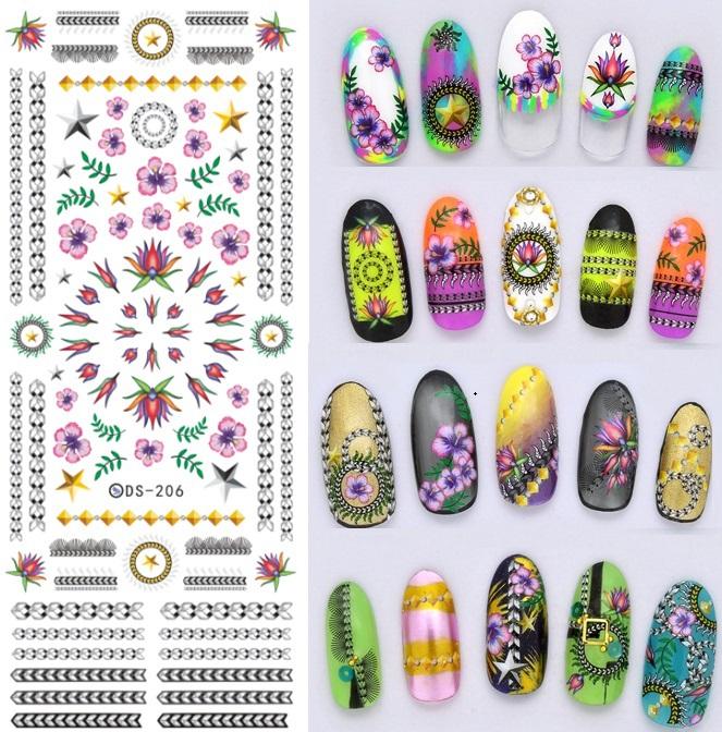 Transferência de água nail art decalques adesivo decoração selo supplie bling adesivos decoração