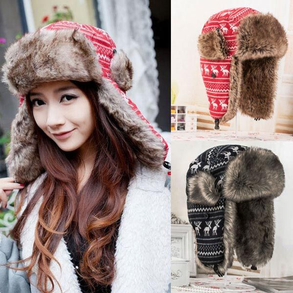 Red/Black Fashion Cute Deer Pattern Faux Fur Lined Warm Lei Feng Style Earflap Caps Trooper Trapper Snow Hats Unisex(China (Mainland))