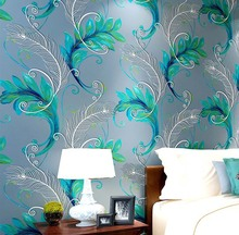 Chinese Style Flocking Elegant Peacock 3D Non-woven Wallpaper Bedroom Living Room TV Backgroumd Papel De Parede Wallcovering(China (Mainland))