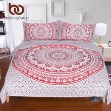 BeddingOutlet Red Mandala Flower Duvet Cover Set With Pillowcase Bohemia Bedding Set Boho Soft Microfiber Quilt Cover Set 3Pcs(China (Mainland))