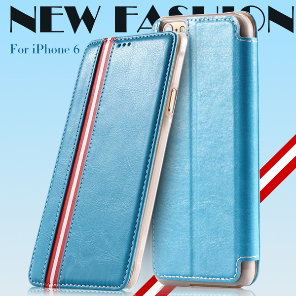 Fashion Stripe Wallet Stand Flip Leather Case For Iphone 6 4.7inch Full Phone Bag Mobile Phones Cover For For iphone 6 plus(China (Mainland))