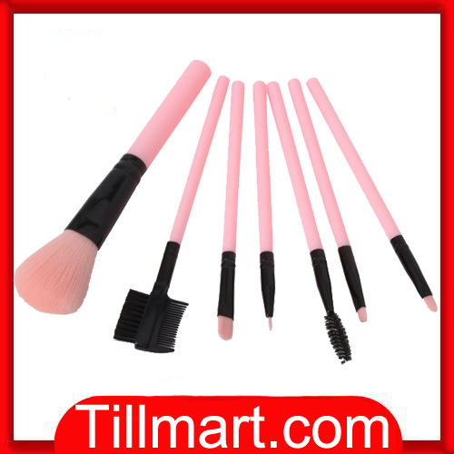 Free shipping on sale High quality 7pcs Professional Cosmetic Makeup Brush Set with Bag Pink