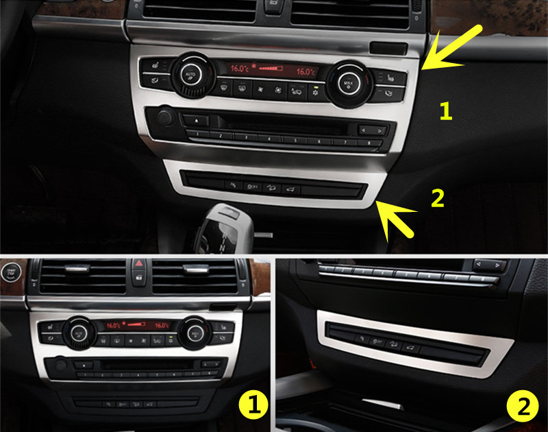 For BMW X5 E70 2009-2013 Inner Middle Console Panel Cover Trim 2pcs