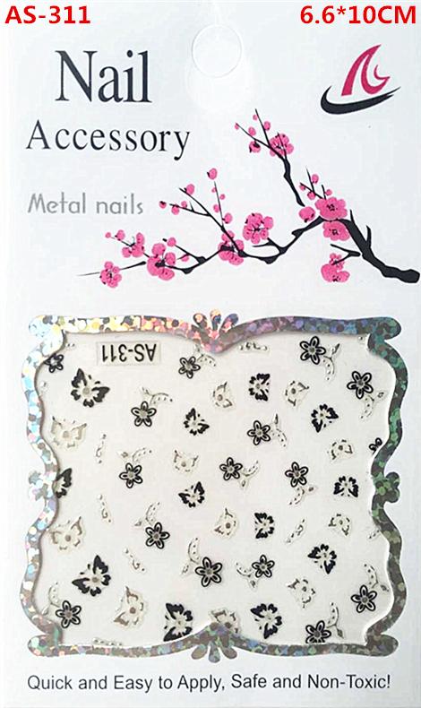 AS-311, A black and silver nail stickers, A woman's nails design adorn article beautiful women nail tools(China (Mainland))