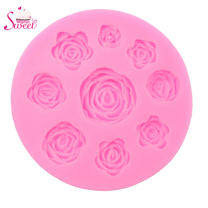 Free Shipping 3D Silicone 8 Mine Roses Craft Fondant DIY Chocolate Mould Cake Decoration Candy Soap Mold Baking Tools(China (Mainland))