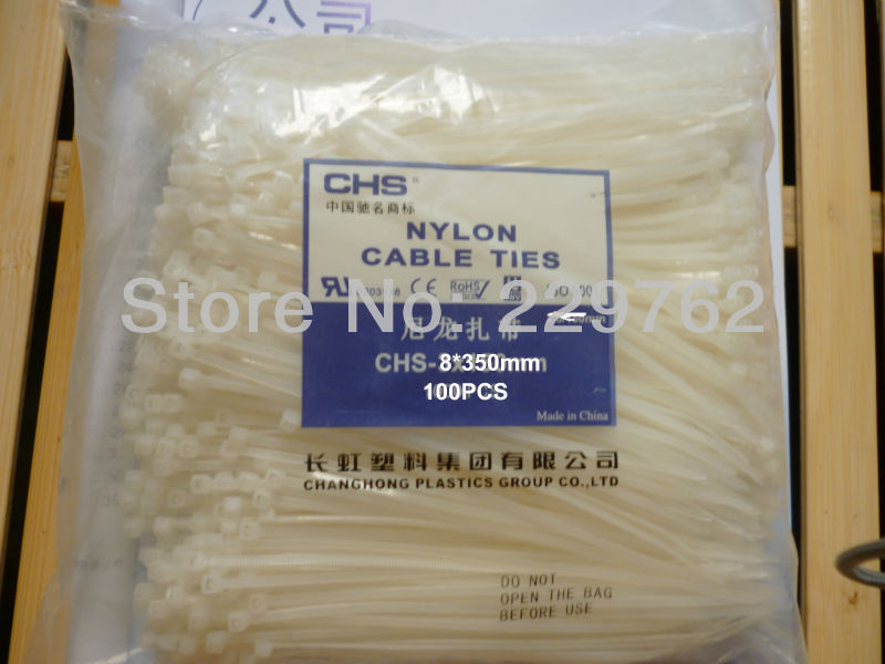 Free shipping 100pcs 8*350mm White Nylon Cable Ties,Wire Zip Tie,Security,Self Locking Nylon 66 Fire-resistant(China (Mainland))