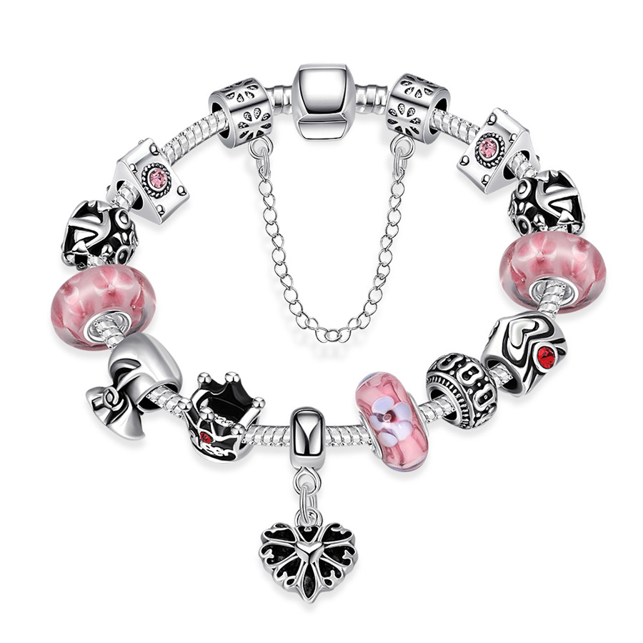 New Hot Fashion Jewelry Women Chain Lin Bracelets Bangles 2016 Silver Plated Pink Bead Vintage Bracelets Women Lady Gift Party(China (Mainland))
