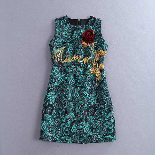 15 Pre Fall  vintage  D G  Gold rose sequins heavy  embroidery flower  dresses   Haute Couture Free shipping