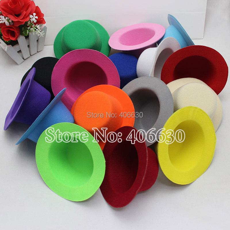 "13cm Diameter 5"" Plain Mini Top Hat DIY Small Top Felt Hat With Clips 50pcs/lot Free Shipping MFF13-00F(China (Mainland))"