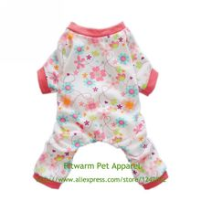 Fitwarm Pink Floral Dog Pajamas Dog Shirt Cozy Dog Clothes Pet Shirt Free Shipping XS Small Medium Large Chihuahua Teddy Yorkie(China (Mainland))