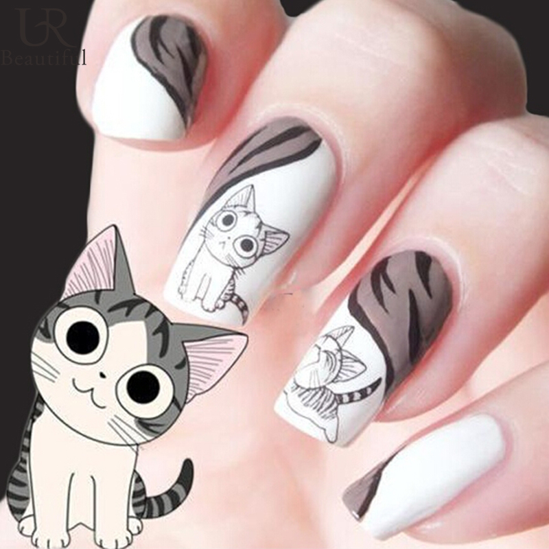 1 sheet Cute Cat Pattern Nail Art Foil Transfer Decals Water Transfers Stickers 3D Nail Decoration Manicure Tools BEXF1253(China (Mainland))