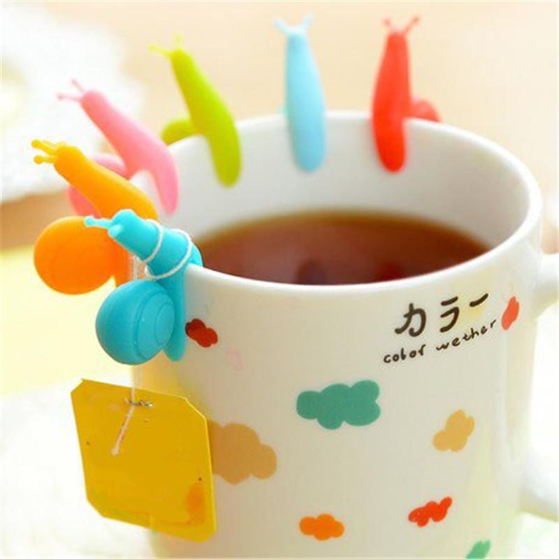 Гаджет  10 Pcs/lot Cute Snail Wineglass Label for Tea Bag Hanging Mug Cup Clip Tea Infuser Holder Cup Mug None Дом и Сад