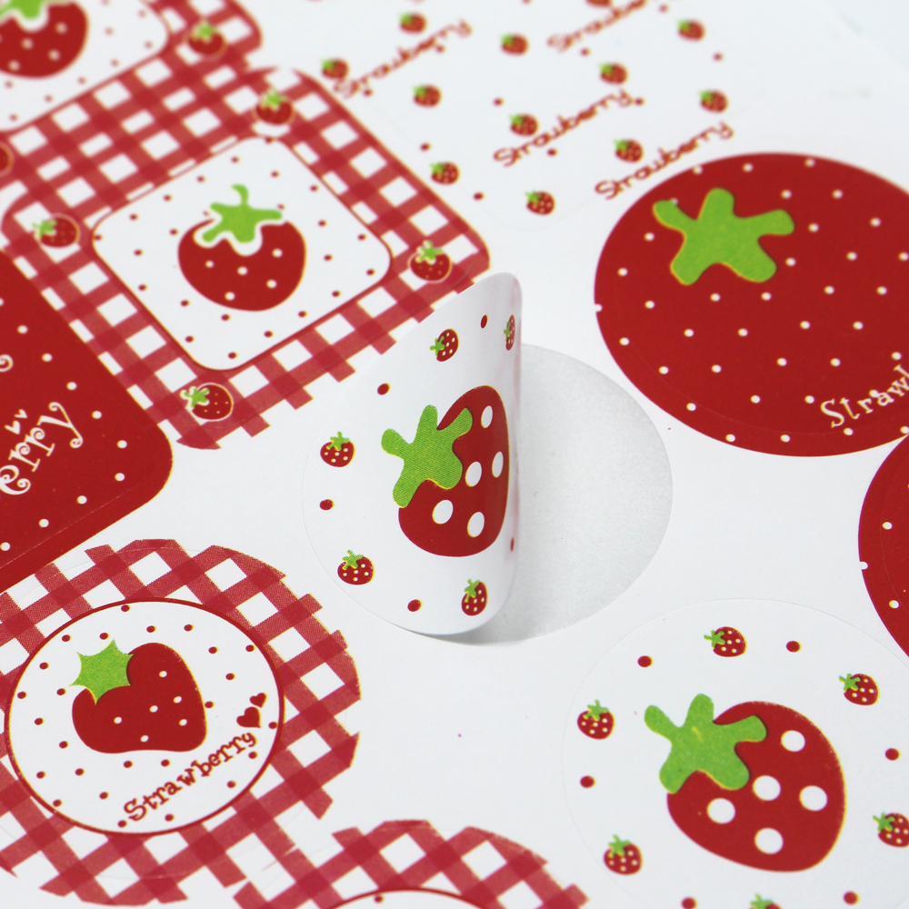 """DHL 8000Pcs/ Lot 2.8cm Round & Square """" Strawberry """" Self Adhesive Party Sticker For Dessert Baked Goods 1.1inch Paper Label(China (Mainland))"""
