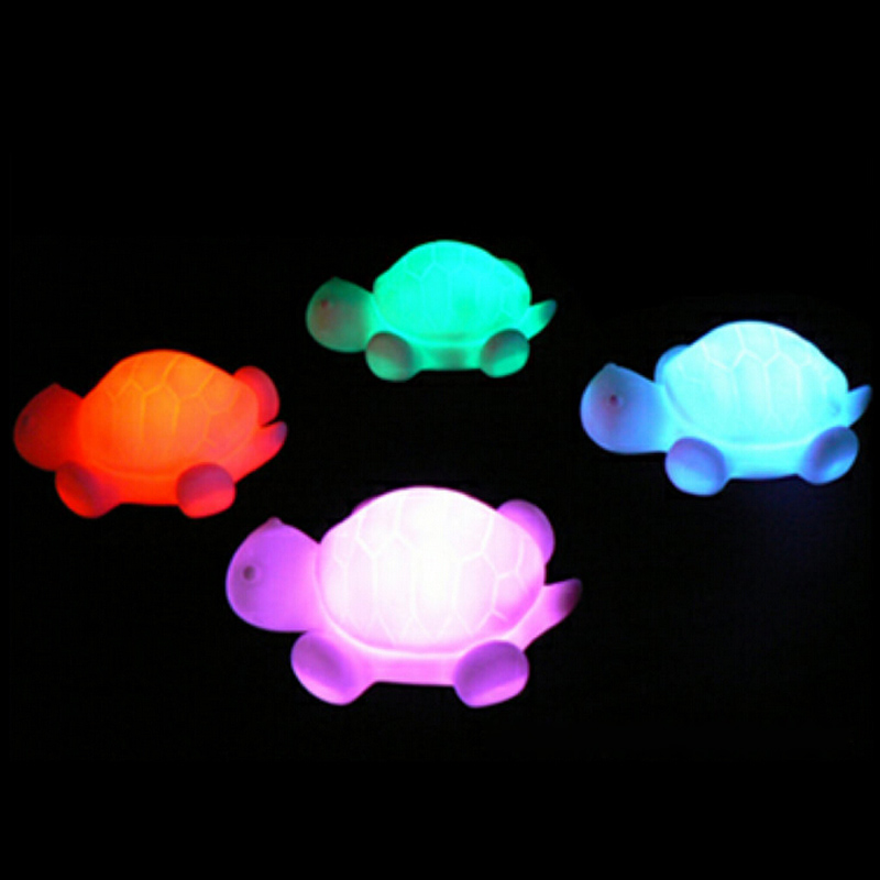 cute 1w turtle led night light lamp colorful button cell switch 7-color Changing Vinyl tortoise lighting Flash lights lamps toys(China (Mainland))