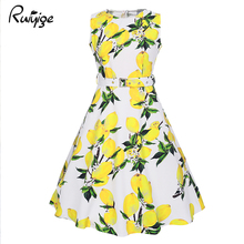 Buy Ruiyige Women Floral Vintage Dress Lemon Print 1950s Rockabilly Dress Vestidos Luxury Pleated Retro Plus Size Femme Sexy Robe for $10.81 in AliExpress store