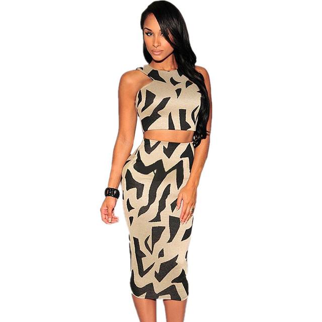 Gd238 женская сексуальность миди длина шампанское зебра принтом-образным высокая талия 2 шт. платье комплект клуб Twinset