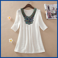 2015 Summer Style Women Clothing  New Casual Dresses Bohemian Novelty Embroidery Vestidos Femininos Dresses Women Dress