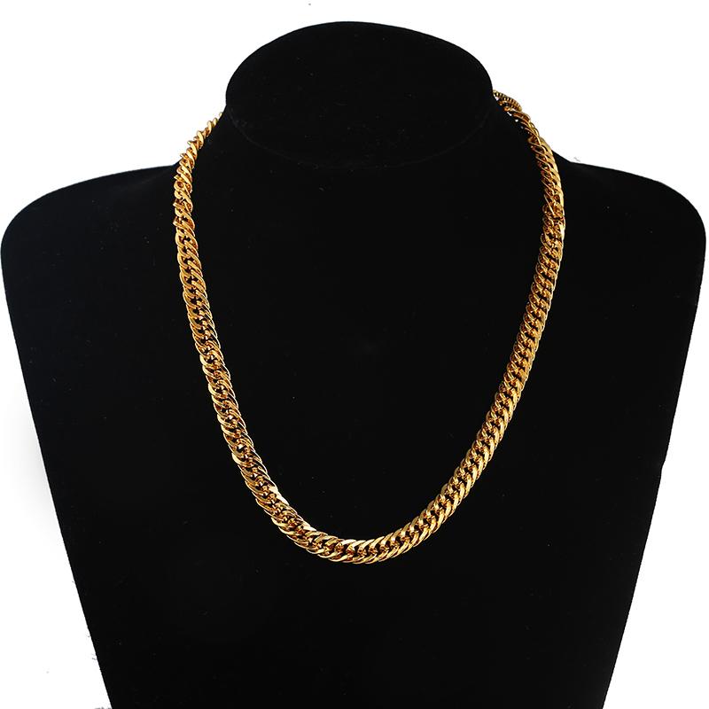 2016 Nueva Dominante collar de estilo Chino de oro 24 k collar largo moda Chapado En oro cadena para hombres joyería N2087 abercombrie(China (Mainland))