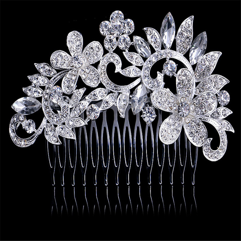 fashion flower crystal wedding hair comb zinc alloy metal hair pins silver Plated wedding hair Accessories bridal women mariage(China (Mainland))