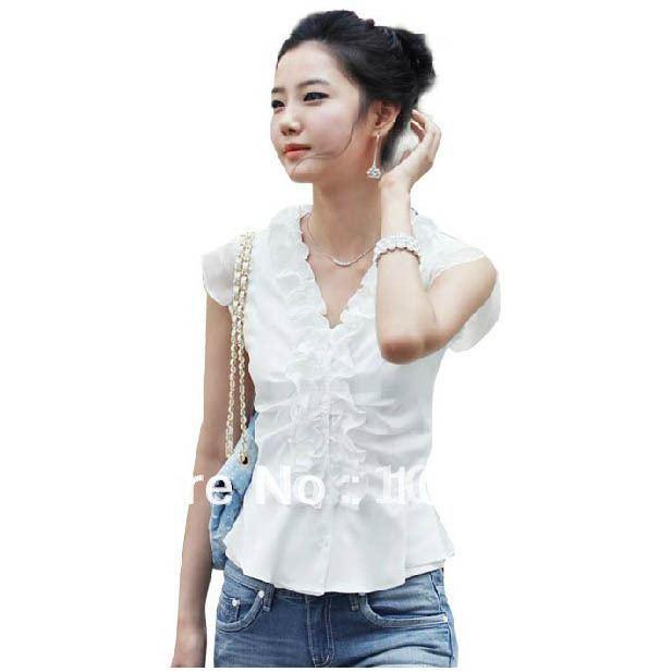 femmes 2013 t mince chemise femme volants en mousseline de soie top manches courtes en. Black Bedroom Furniture Sets. Home Design Ideas