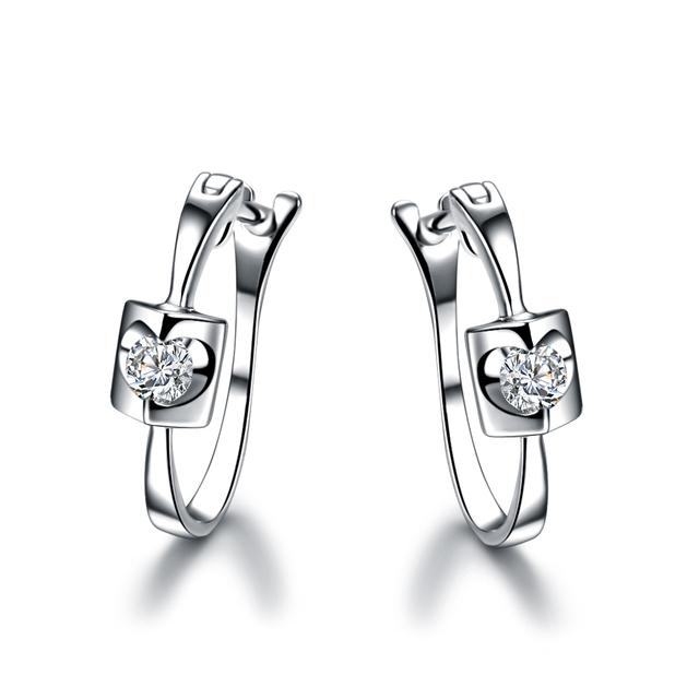ZOCAI TRENDY ANGEL'S KISS 0.12 CT NATURAL DIAMOND LEVERBACK HOOP EARRINGS EARRING JEWELRY ROUND CUT 18K WHITE GOLD