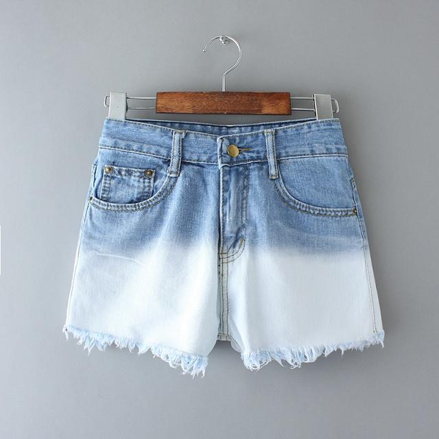 5a10 Fashion 2015 Ladies Vintage Gradient Denim Jeans Shorts For Women Pocket Zipper Tassel Short Mujer Casual Female(China (Mainland))