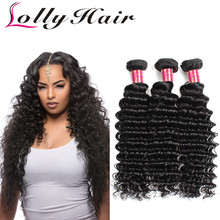 7A Grade Brazilian Deep Wave Virgin Hair 4Pcs Lot Lolly Hair Company 100% Unprocessed Human Hair Weave Extensions Free Shipping