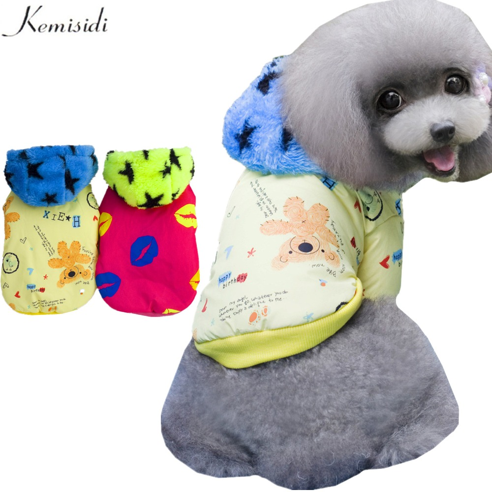 KEMISIDI Dog Winter Clothes 100% Cotton Print Autumn Dogs Coat Jacket Rose Red Yellow Color Pet Dog Apparel Size S M L XL XXL(China (Mainland))