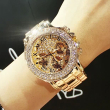 2015 New High Quality Luxury Crystal Diamond Watches Women Gold Watch Steel Strip Rose Gold Sparkling Dress Wristwatch Drop Ship