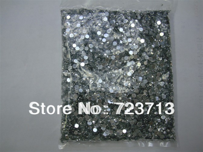 Nail Art Rhinestone 20000pcs/pack 1.5mm SS6 Crystal Silver Glitter Clear Color Acrylic Stones Decoration Flat Back for GEL Nails(China (Mainland))