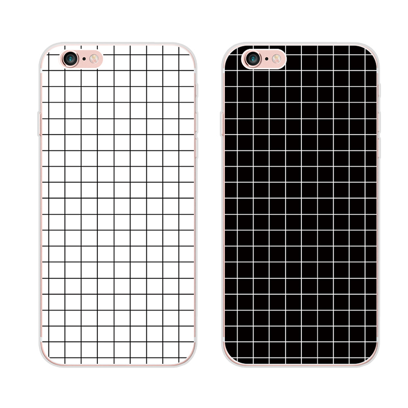 For Apple iphone 6 6S 6plus 6Splus case TPU phone shell soft silicone sets Korea trend of men and women all-inclusive grid pg6(China (Mainland))