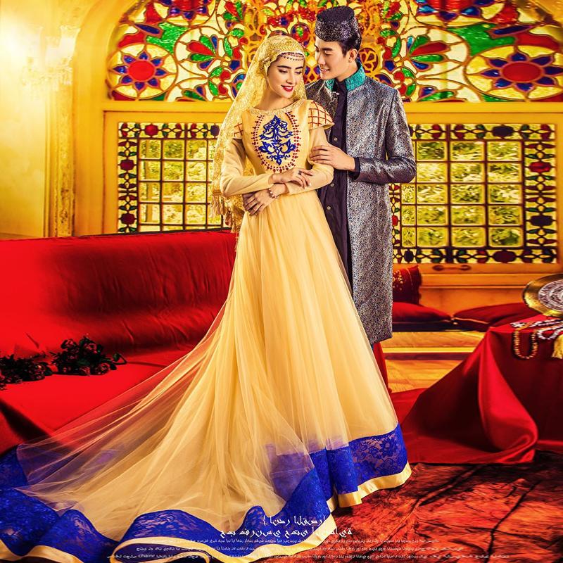 Vestido Noiva Muslim Wedding Dress Hijab Long Sleeve Arabic Wedding Gown Tulle 2016 A line Gold Wedding Dresses Robe De Mariage(China (Mainland))