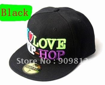 Free Shipping I LOVE HIP-HOP flat-brimmed hat, Hip-hop cap, Baseball hats, Bboy caps 2 color