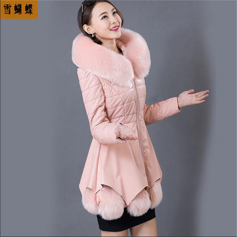 2015 New Arrival Women Winter Leather Down Jacket Large Size Sheep Fur Coat Womens Winter Parkas M-XXXL A763