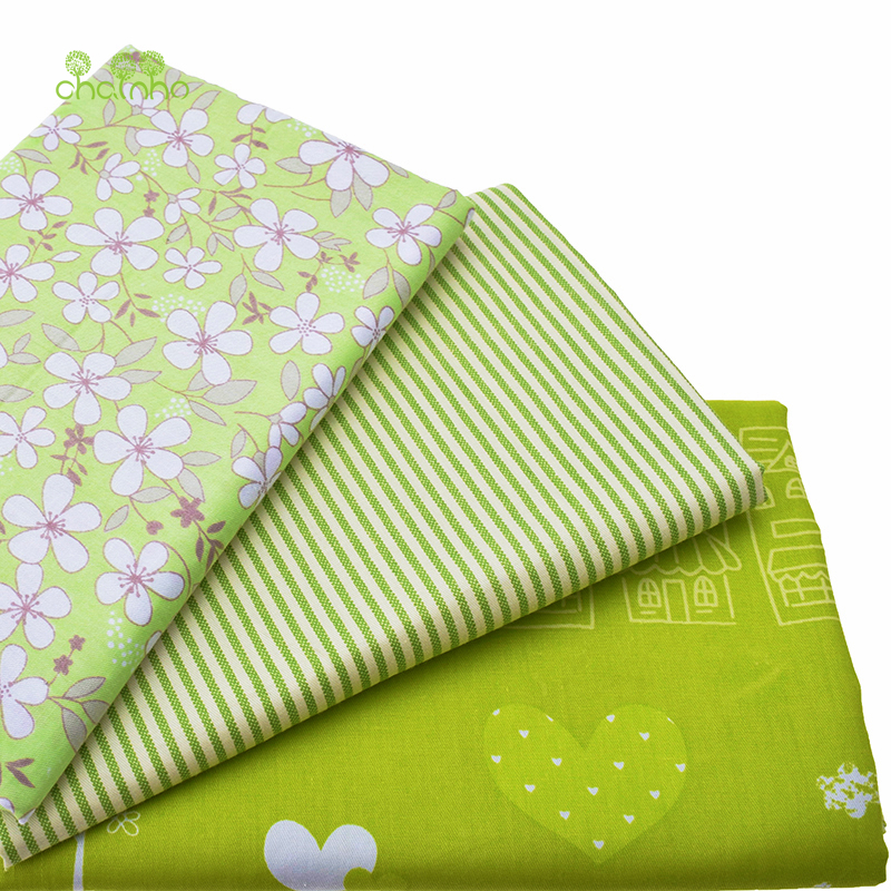 Printed Twill Cotton Fabric For Sewing Quilting Green Tissue Baby Bed Sheets Sleepwear Children Dress Skirt Material Half Meter(China (Mainland))