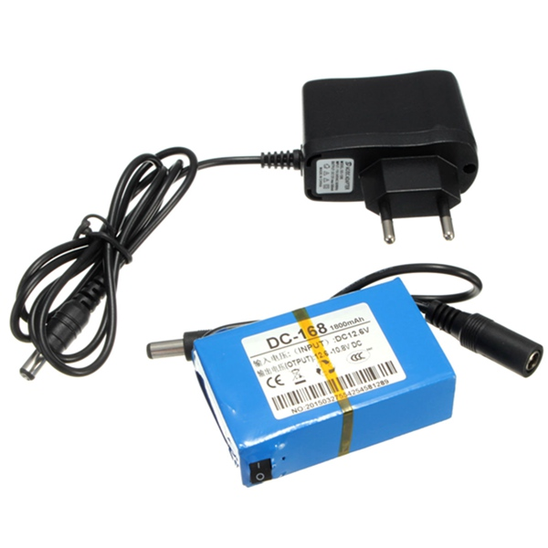 Super Rechargeable Protable Lithium-ion Battery EU Plug for DC 12V 1800mAh(China (Mainland))