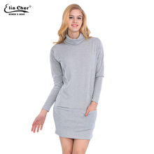 New Turtleneck sweater knitting Autumn dress causal plus size women clothing chic elegant active grey pockets Winter dresses(China (Mainland))