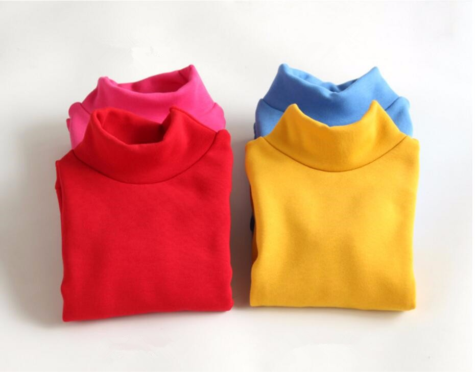 Autumn Cotton Children Base T Shirts Baby Boys Girls Clothes Long Sleeve Turtleneck Casual T Shirt Tops Kids Tshirt  HB2115