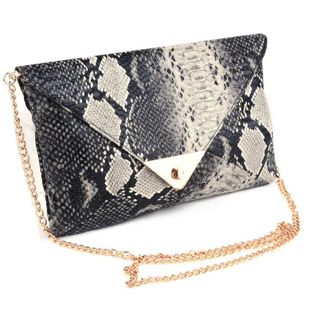 Hot Sale! 2015 New Women's Synthetic Leather Messenger Bags Snake Skin Envelope clutch Day Clutches Purse Evening Bag SV002902#(China (Mainland))