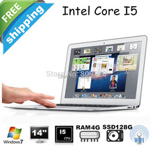 Freeshipping13.3inch with metal case ultrabook laptop notebook computer intel core I5 1.8Ghz 4GB 128GB SSD Bluetooth HDMI WIFI