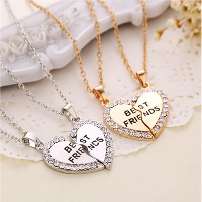 "Гаджет  2015 2P One Half And A Half ""Best Friends"" Necklace Broken Heart Pendant Couple Necklaces Gift for Friends CC2156  None Ювелирные изделия и часы"