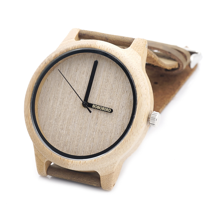 BOBO BIRD A22 Bamboo Wooden Quartz Watch Mens Top Luxury Brand Leather Wood Watch Logo Silk-Screen on Hour Hand erkek kol saati(China (Mainland))